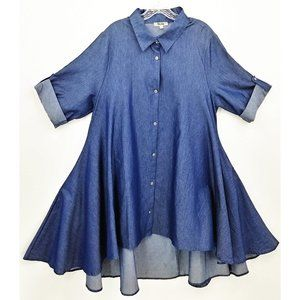Quum Chambray High Low Tunic Dress Lagenlook